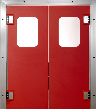 PE swingdoors Grothaus red