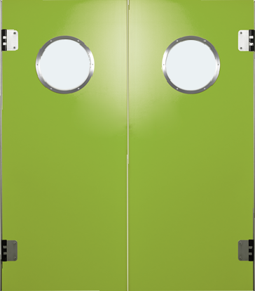 PE trafficdoor Grothaus green double door