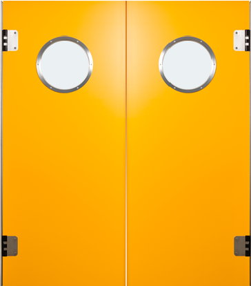 PE swingdoors Grothaus orange double door