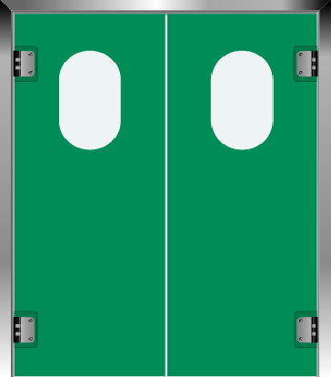 PE swingdoors Grothaus green