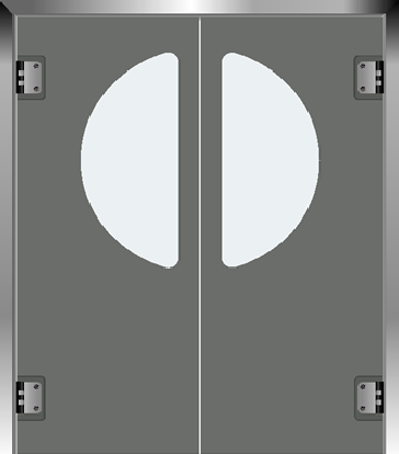 PE swingdoors Grothaus grey double door